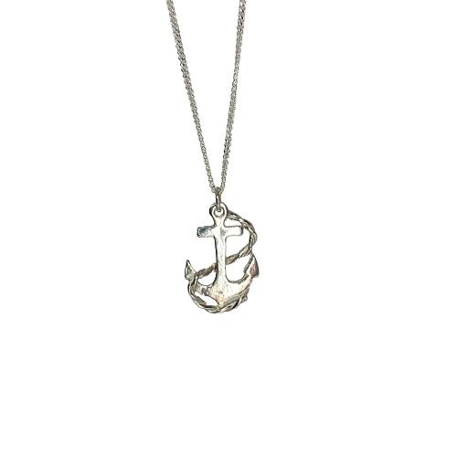 Tin & Silver Anchor necklace