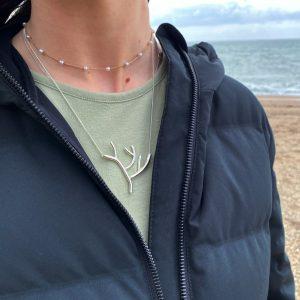 Tin & Silver Coral Necklace