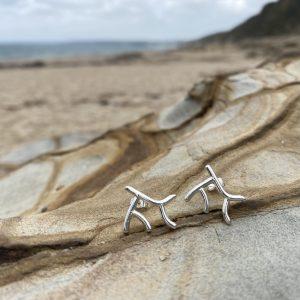 Silver Coral Stud Earrings