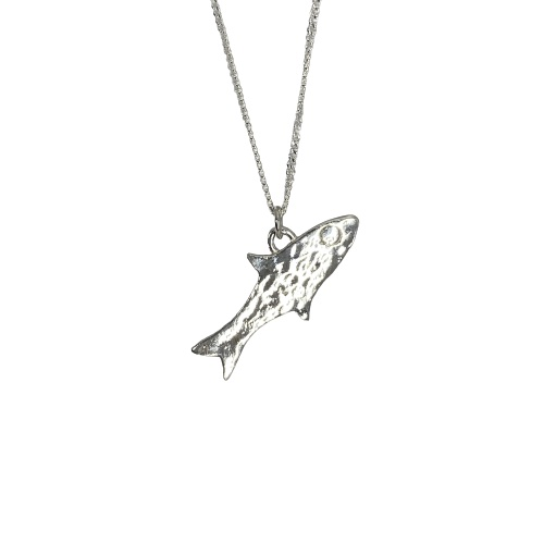 Silver Hammered Fish Necklace