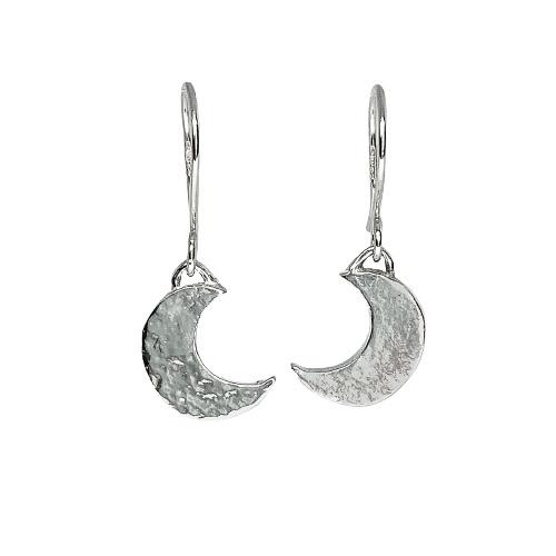 Silver hammered moon Earrings